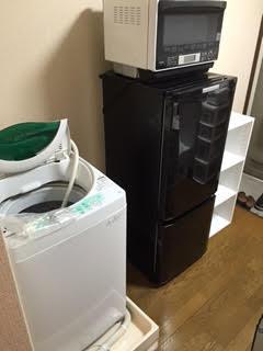 冷蔵庫、洗濯機、レンジ、カラーボックス回収処分